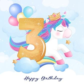 Unicorno carino doodle con illustrazione di numerazione