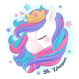 Unicorno sveglio di doodle con l'illustrazione dell'acquerello