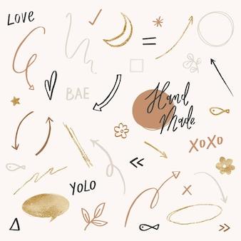 Insieme di vettore di doodle carino in tono nero e oro