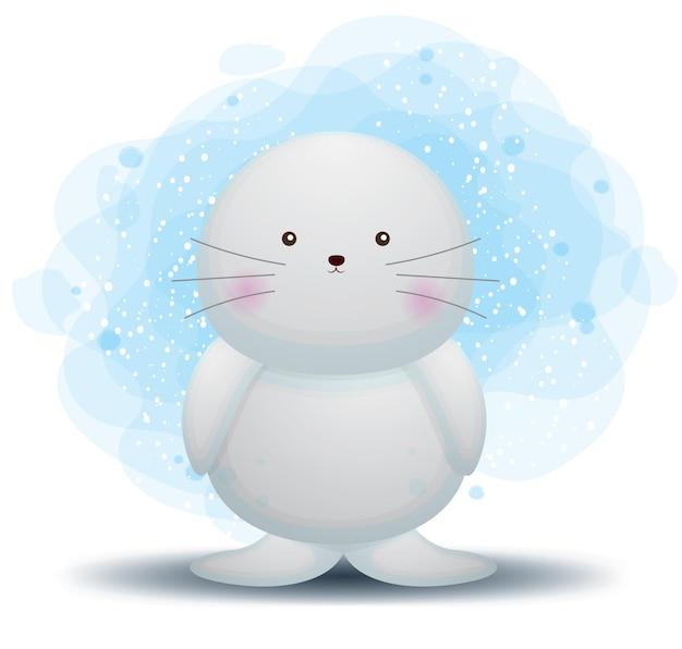 Simpatico personaggio dei cartoni animati di tricheco doodle