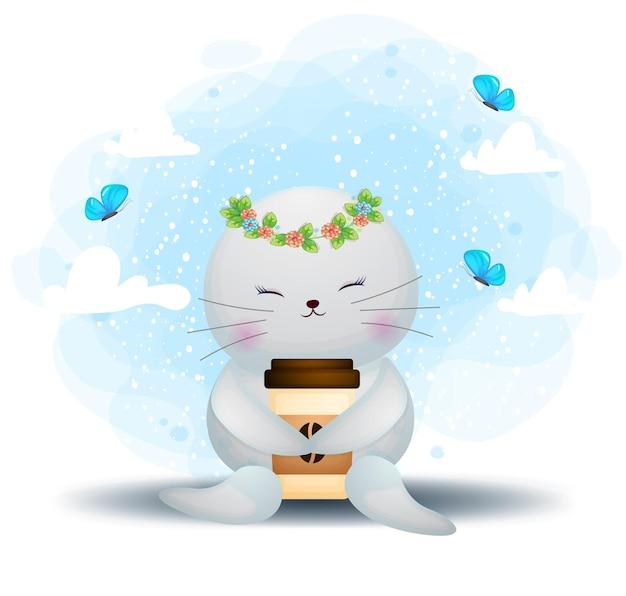 Tricheco sveglio di doodle che tiene il personaggio dei cartoni animati della tazza di caffè