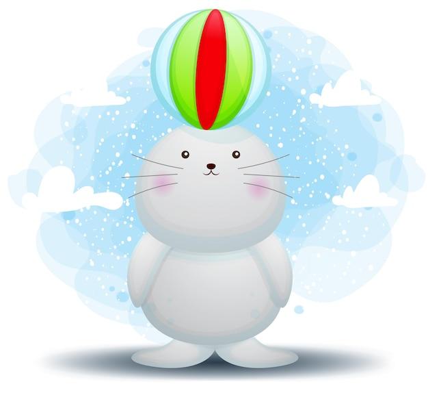 Tricheco sveglio di doodle che gioca personaggio dei cartoni animati della palla