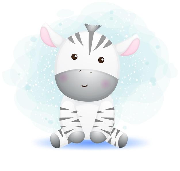 Simpatico personaggio dei cartoni animati di doodle zebra