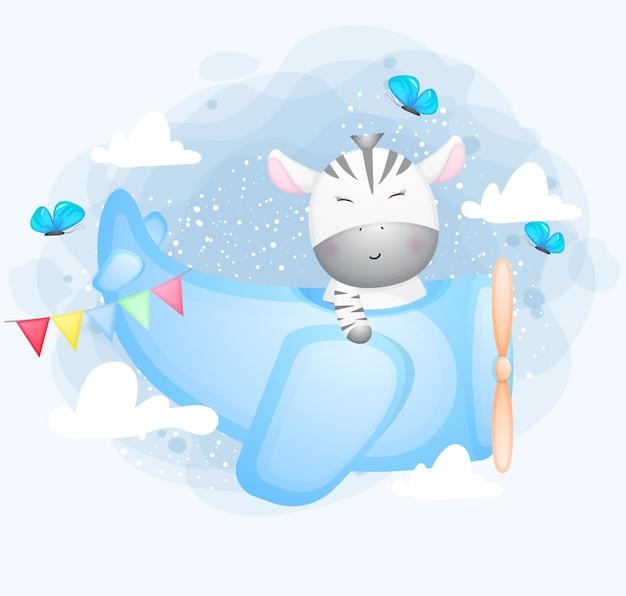 Zebra sveglio di doodle che vola con il personaggio dei cartoni animati aereo
