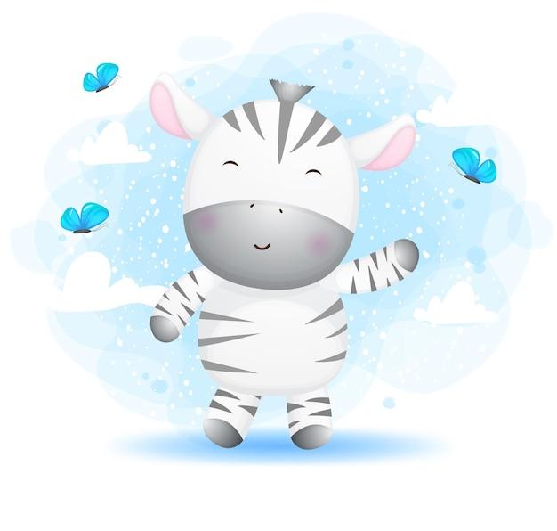 Zebra sveglia di doodle che gioca con il personaggio dei cartoni animati della farfalla