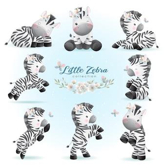 La zebra sveglia di doodle posa con la raccolta floreale