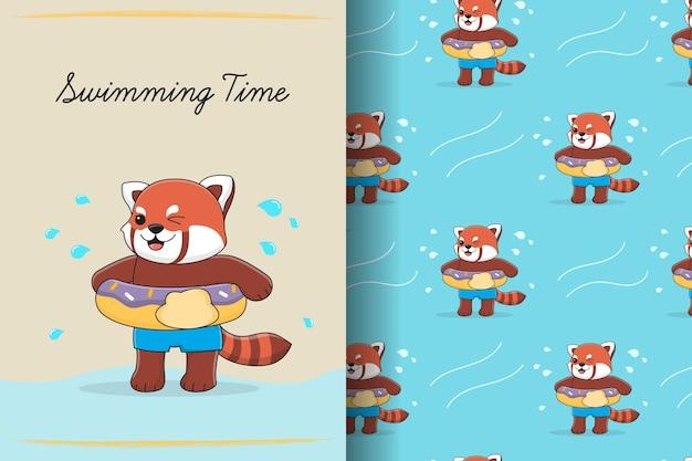 Modello senza cuciture ed illustrazione del panda rosso sveglio della ciambella