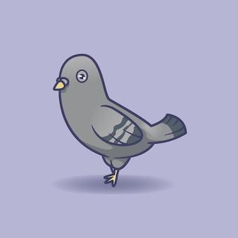 Disegno di illustrazione vettoriale di colomba carina