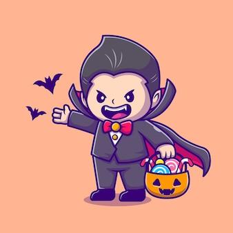 Dracula sveglio che tiene il cestino della zucca con l'illustrazione dell'icona del fumetto del pipistrello e della caramella. persone vacanza icona concetto isolato. stile cartone animato piatto