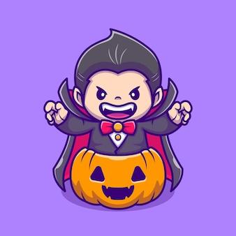 Dracula sveglio nell'illustrazione dell'icona del fumetto della zucca. persone vacanza icona concetto isolato. stile cartone animato piatto