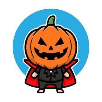 Carino dracula zucca halloween fumetto illustrazione vettoriale