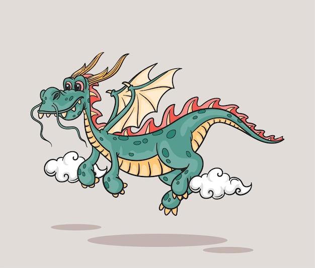 Simpatico drago che vola con piccole nuvole, leggenda del regno dei draghi di fuoco dei cartoni animati