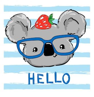 Koala disegnato sveglio in vetri con le fragole sulla testa.