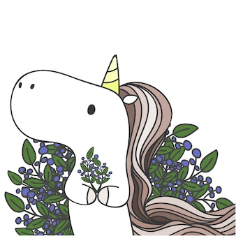 Unicorno carino e disegnato e foglie.
