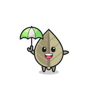 Simpatica illustrazione di foglie secche che tiene un ombrello, design in stile carino per t-shirt, adesivo, elemento logo