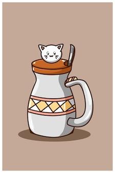 Bottiglia di bevanda carina con illustrazione di cartone animato gatto carino Vettore Premium