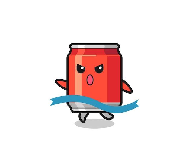 L'illustrazione carina della lattina per bevande sta raggiungendo il traguardo, il design in stile carino per maglietta, adesivo, elemento logo