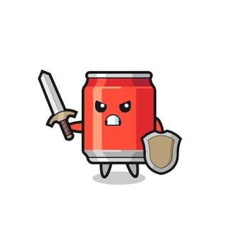 Simpatica bevanda può soldato che combatte con spada e scudo, design in stile carino per maglietta, adesivo, elemento logo
