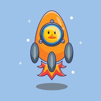 Carino anatra astronauta volare su razzo fatto da uovo fumetto illustrazione vettoriale. concetto di design scienza tecnologia isolato vettore premium
