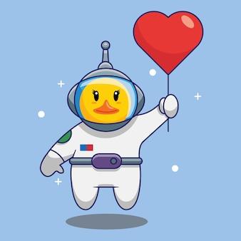 Carino anatra astronauta volare con amore palloncini fumetto illustrazione vettoriale. concetto di design gratuito isolato premium vector