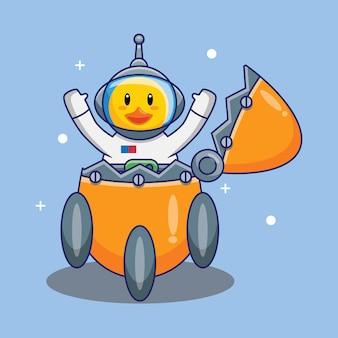 L'astronauta sveglio dell'anatra ha atterrato il razzo fatto dall'illustrazione di vettore del fumetto dell'uovo. concetto di design scienza tecnologia isolato vettore premium