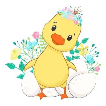 Carino anatra con uova in stile cartone animato illustrazione