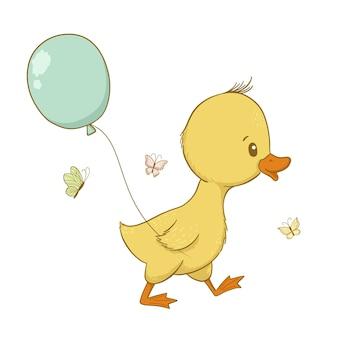 Carino anatroccolo con palloncino in stile cartone animato illustrazione