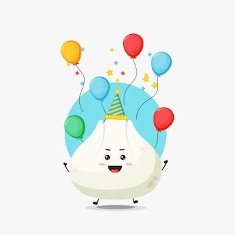 Simpatico personaggio di gnocco che festeggia il compleanno