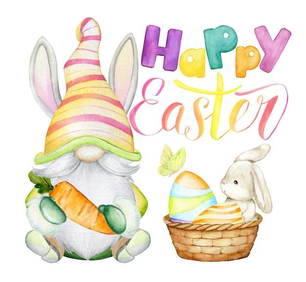 Simpatico nano, coniglio, uova di pasqua, farfalla, cestino, scritte, concetto di acquerello, in stile cartone animato