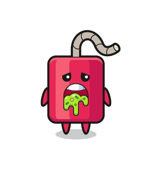 Il simpatico personaggio dinamite con vomito, design in stile carino per maglietta, adesivo, elemento logo