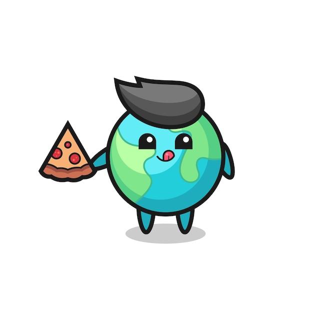 Simpatico cartone animato di terra che mangia pizza, design in stile carino per maglietta, adesivo, elemento logo