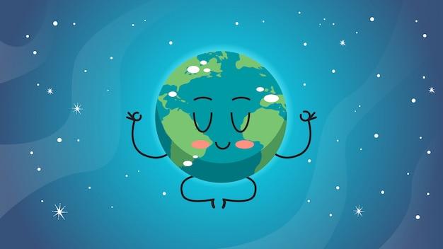 Orizzontale di concetto di meditazione del pianeta di salvataggio del personaggio della mascotte del fumetto di posa del loto del fumetto sveglio di carattere sveglio della terra