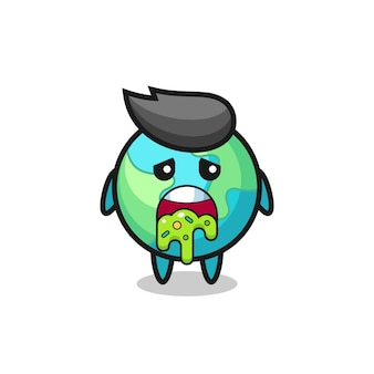 Il simpatico personaggio della terra con vomito, design in stile carino per maglietta, adesivo, elemento logo