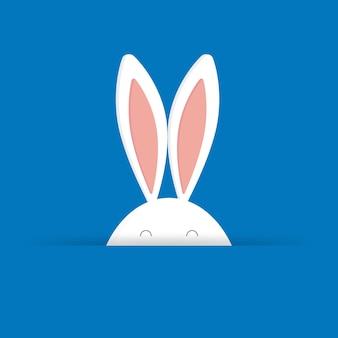 Simpatico coniglietto di pasqua in illustrazione vettoriale sfondo blu. per biglietti di pasqua, banner, congratulazioni e siti web.