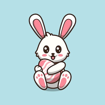 Simpatico coniglietto di pasqua che trasporta l'uovo fumetto illustrazione