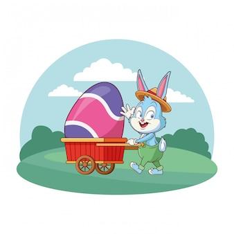 Celebrazione sveglia del coniglietto di pasqua con la struttura rotonda del fondo della natura del carretto dell'uovo