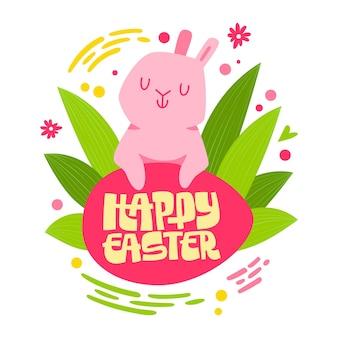 Coniglio di coniglietto di pasqua carino con frase scritta - buona pasqua.