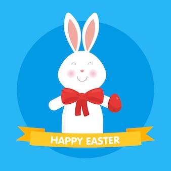 Simpatico coniglietto di pasqua illustrazione vettoriale. per biglietti, banner, congratulazioni e siti web.