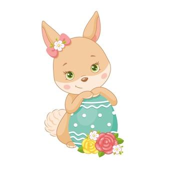 Simpatico coniglietto di pasqua con uovo su sfondo bianco