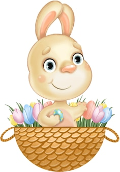 Simpatico coniglietto di pasqua carino in un cestino con uova e fiori