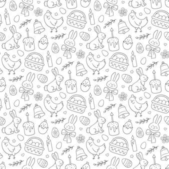 Modello senza cuciture di doodle carino pasqua con coniglietto, cestino, uova di pasqua, torte, pollo, ramoscelli di salice e candele.
