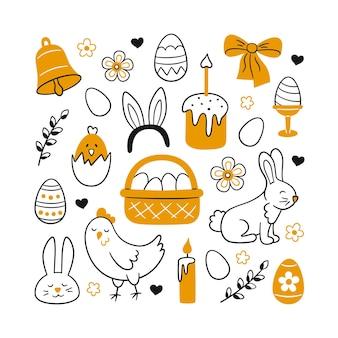 Simpatico set di doodle di pasqua: coniglietto, cestino, uova di pasqua, torte, pollo, ramoscelli di salice e candele. illustrazione di disegni isolati su priorità bassa bianca