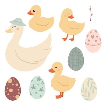 Carino anatroccolo di pasqua e mamma anatra con le uova di pasqua Vettore Premium
