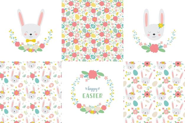 Pasqua carina imposta coniglietti ghirlande floreali e modelli senza cuciture in stile cartone animato