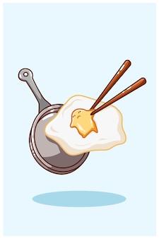 Vettore sveglio del disegno della mano dell'illustrazione di vettore dell'uovo