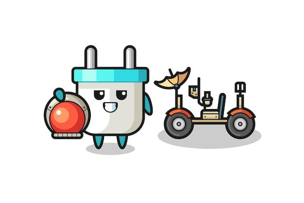 La simpatica presa elettrica come astronauta con un rover lunare, design in stile carino per maglietta, adesivo, elemento logo