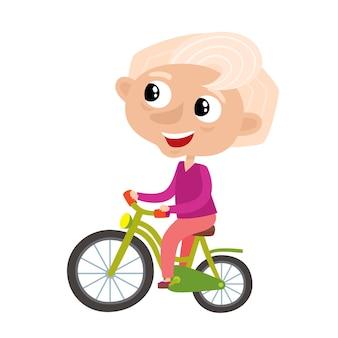 Nonna sportiva elegante carina nello stile del fumetto isolato su bianco. illustrazione di felice vecchia donna in bicicletta