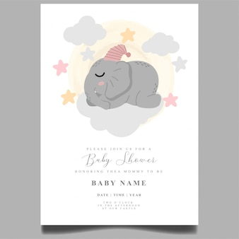 Modello editabile neonato dell'invito sveglio della doccia di bambino dell'elefante