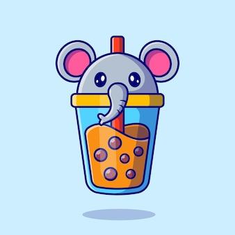 Illustrazione sveglia dell'icona del fumetto del tè al latte di boba dell'elefante.