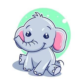 Simpatico cartone animato elefante seduto illustrazione vettoriale